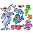 ocean animals collection vector image