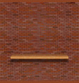 old brick wall with wooden shelf vector image vector image