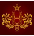Patterned golden letter H monogram in vintage vector image