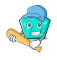 playing baseball pentagon character cartoon style vector image