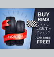 realistic car tires ad poster vector image