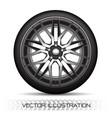 realistic silver black alloy car wheel tire vector image