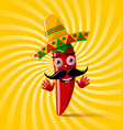 red chilli pepper character with sombrero hat on vector image vector image