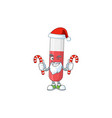 red test tube humble santa cartoon having candies vector image vector image