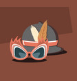 retro classic hat with feathers and mask glasses vector image