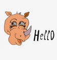 rhino girl big head side view text message hello vector image