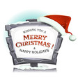 santa claus hat on funny stone sign vector image vector image