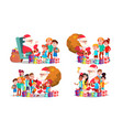santa claus with children set cheerful vector image
