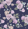 Seamless floral pattern with pink roses on dark