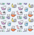 seamless pattern with cats mermaid in kawaii style vector image vector image