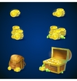 set objects - coins chest emeralds bag vector image vector image