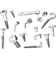 set of fasteners vector image vector image