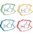 set of like stickers label with hands vector image vector image
