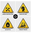 set of yellow warning symbols vector image vector image