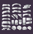 silver retro style ribbons tags and emblems big vector image