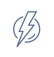simple line art icon lightning flash in circle vector image