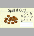 spell english word coffee bean vector image