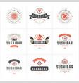 sushi restaurant logos and badges set japanese vector image vector image