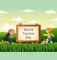 teacher day concept with children going to school vector image vector image