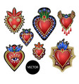 traditional mexican hearts with fire and flowers