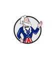 Uncle Sam American Waving Hand Circle Cartoon vector image vector image