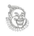 vintage circus clown head doodle vector image