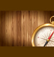 vintage compass on wooden background vector image vector image