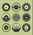 vintage labels blue set vector image