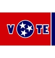 vote text on Tennessee state flag backdrop vector image vector image
