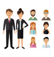 white background with full body executive couple vector image vector image