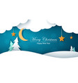 winter cartoon paper landscape fir moon cloud vector image vector image
