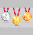 three medals on transparent vector image