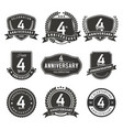 4 year anniversary badge and labels vector image