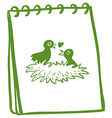 A notebook with a drawing of two birds in the nest vector image vector image