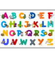 alphabet with objects for kids vector image vector image