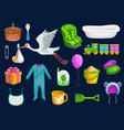 baitem icons toys cup spoon bib and stork vector image vector image