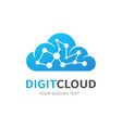 blue cloud isolated logo network connection vector image