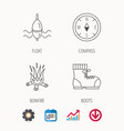 bonfire fishing float and hiking boots icons vector image vector image