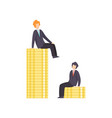 businessmen standing on stacks coins vector image vector image