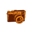 Camera 35mm Vintage Woodcut vector image