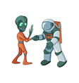 cartoon alien meeting and handshake in space vector image vector image