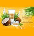 coconut natural cosmetics advertising vector image vector image