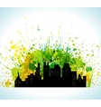 color paint splashes eco green city background