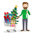 dad bought a full trolley of gifts and a christmas vector image