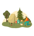 father dad and child son hiking together at nature vector image vector image