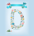 floral letter d with blue ribbon and three doves vector image vector image