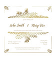golden wedding invitation card template vector image