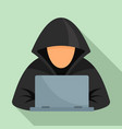 hacker at laptop icon flat style vector image vector image