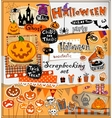 Halloween scrapbook elements vector image vector image