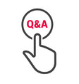 hand presses the button with text q a vector image